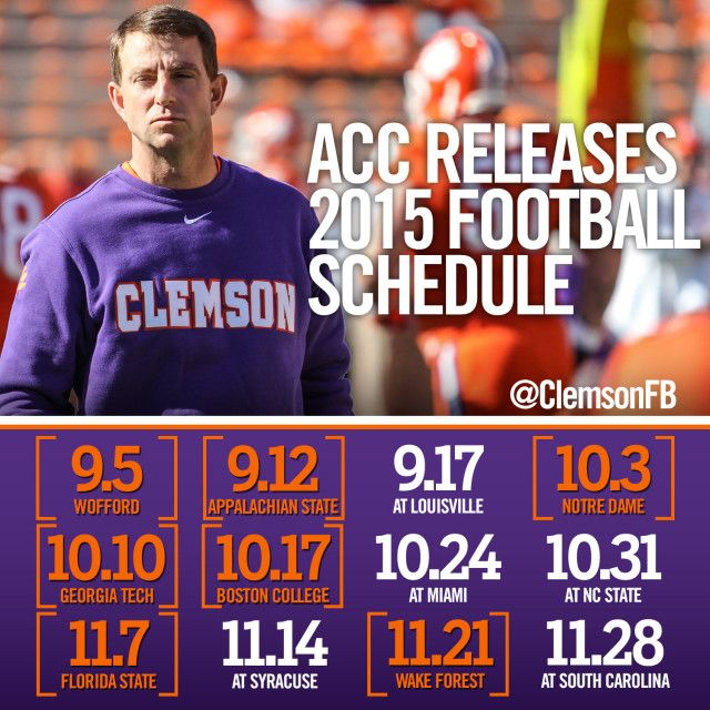 2015 Schedule Announced Clemson Tigers Official Athletics Site
