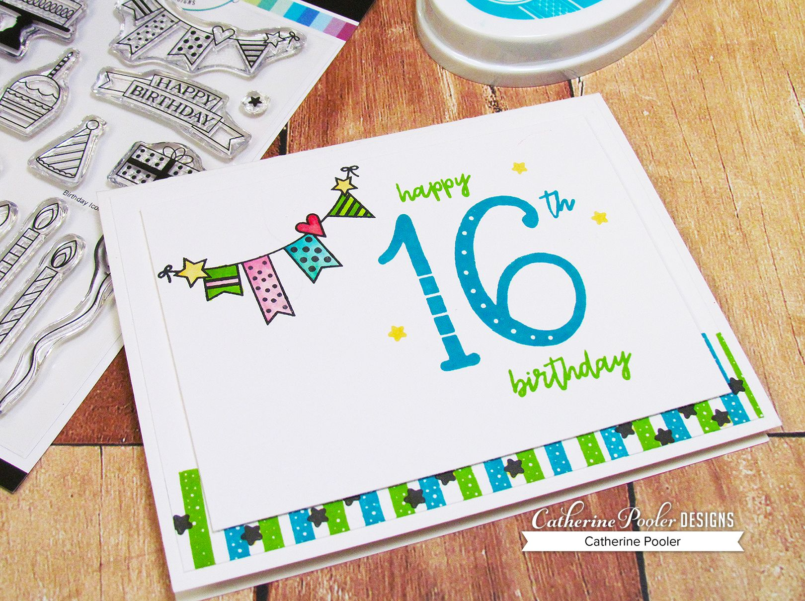 16th Birthday Card For My Daughter Love These Large Numbers And That Fun Banner Hand Made Stamped Ink