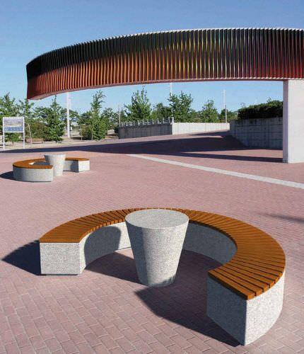 Public bench / contemporary / wooden / stone BARCELA by Tomás Muñoz Granitos Vincios, s.l.