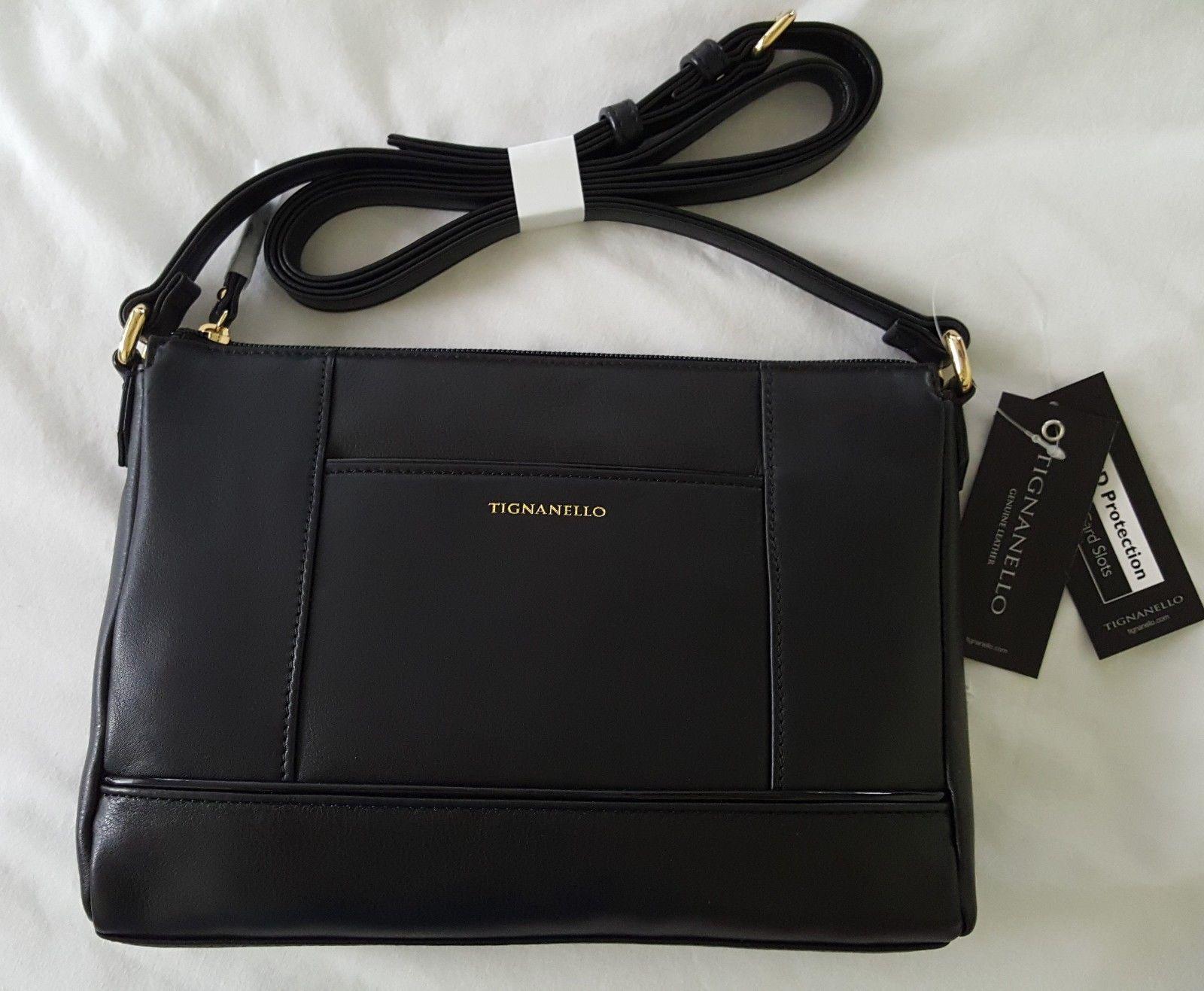 Women's Purse Bowery Leather Crossbody bag RFID Black NEW NWT