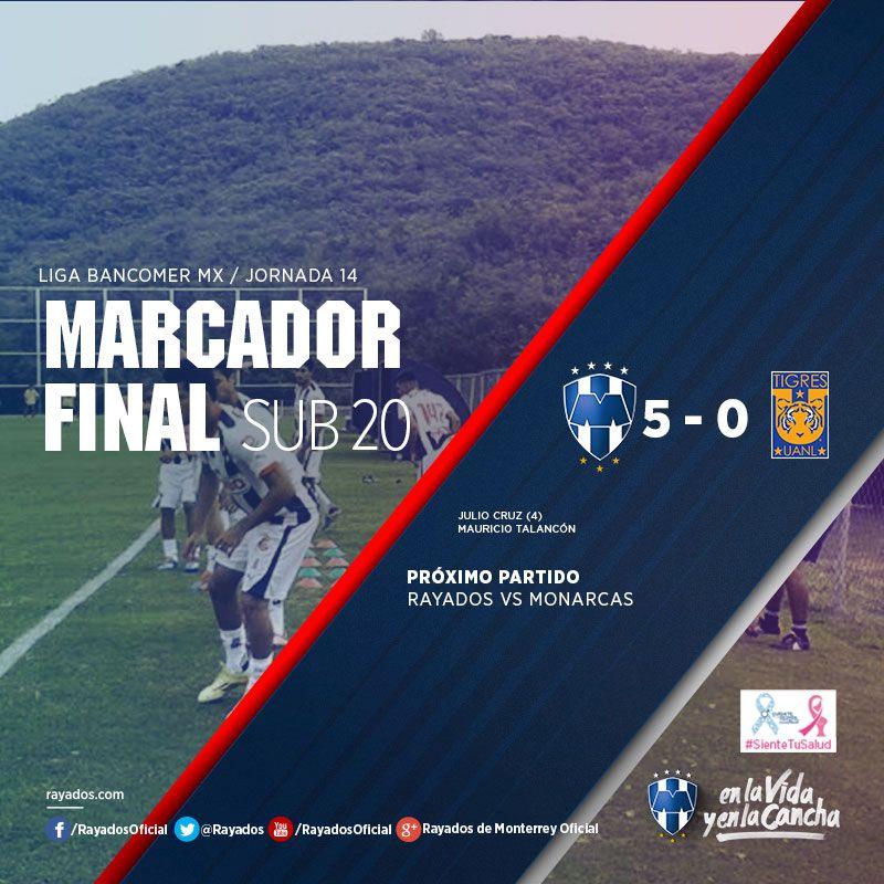 Los #Rayados Sub 20 se impusieron por marcador de 5-0 ante Tigres en el #ClásicoRegio. NOTA: http://www.rayados.com/fuerzas-basicas/rayados-sub-20-ganan-5-0-el-clasico-regio,2c387c43a5b49410VgnVCM20000099cceb0aRCRD.html