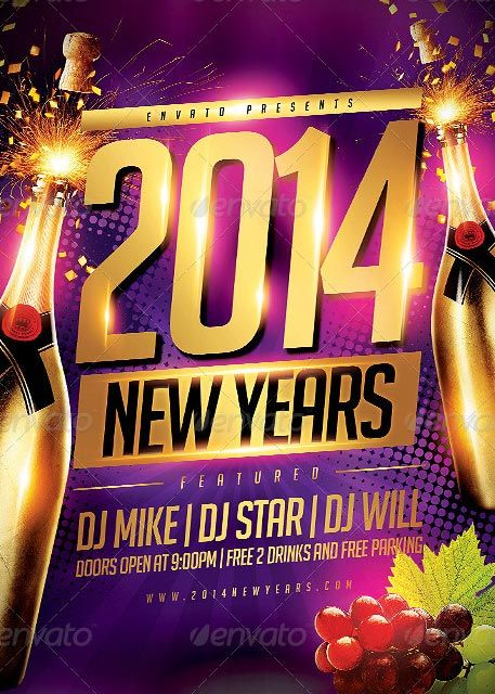 New Year Party Flyer Template - http\/\/ffflyer\/new-year-party - new year brochure template