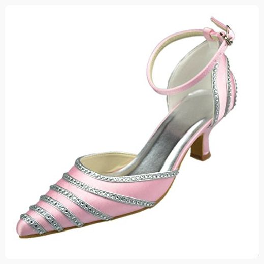 Minishion Y120P Womens Kitten Heel Leopard Pink Satin Evening Party Bridal Wedding Sparkle Strappy Crystal Shoes US 9 (*Partner Link)