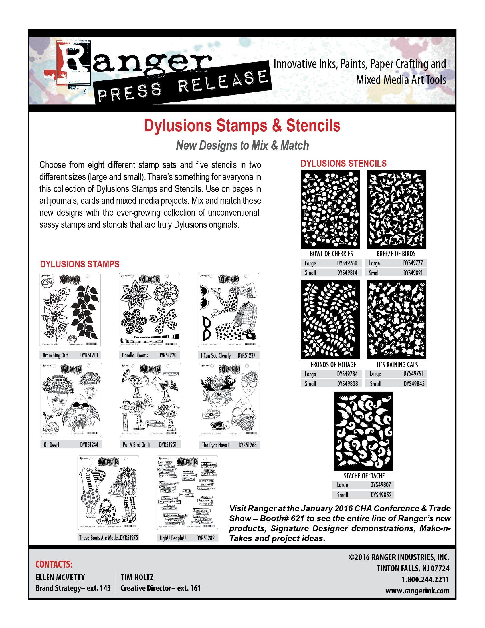 Dylusions Stamps Stencils PR-2016