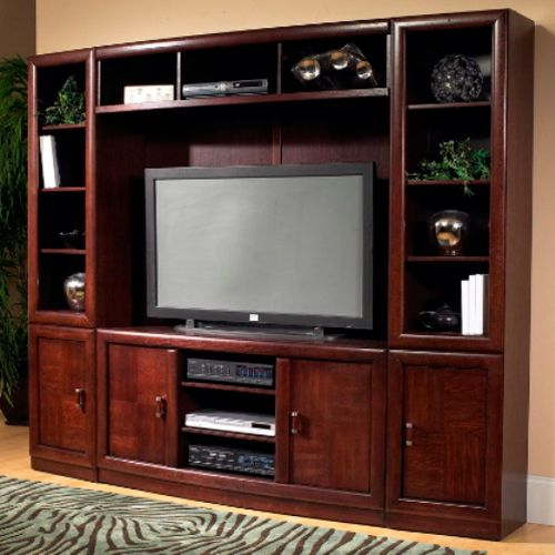 Entertain Yourself With The Cherry Wood Entertainment Center From Oak Furniture West