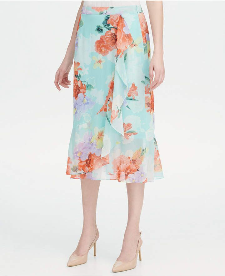5b4586fa69 Ruffled Floral-Print Skirt in 2019   Products   Floral print skirt ...