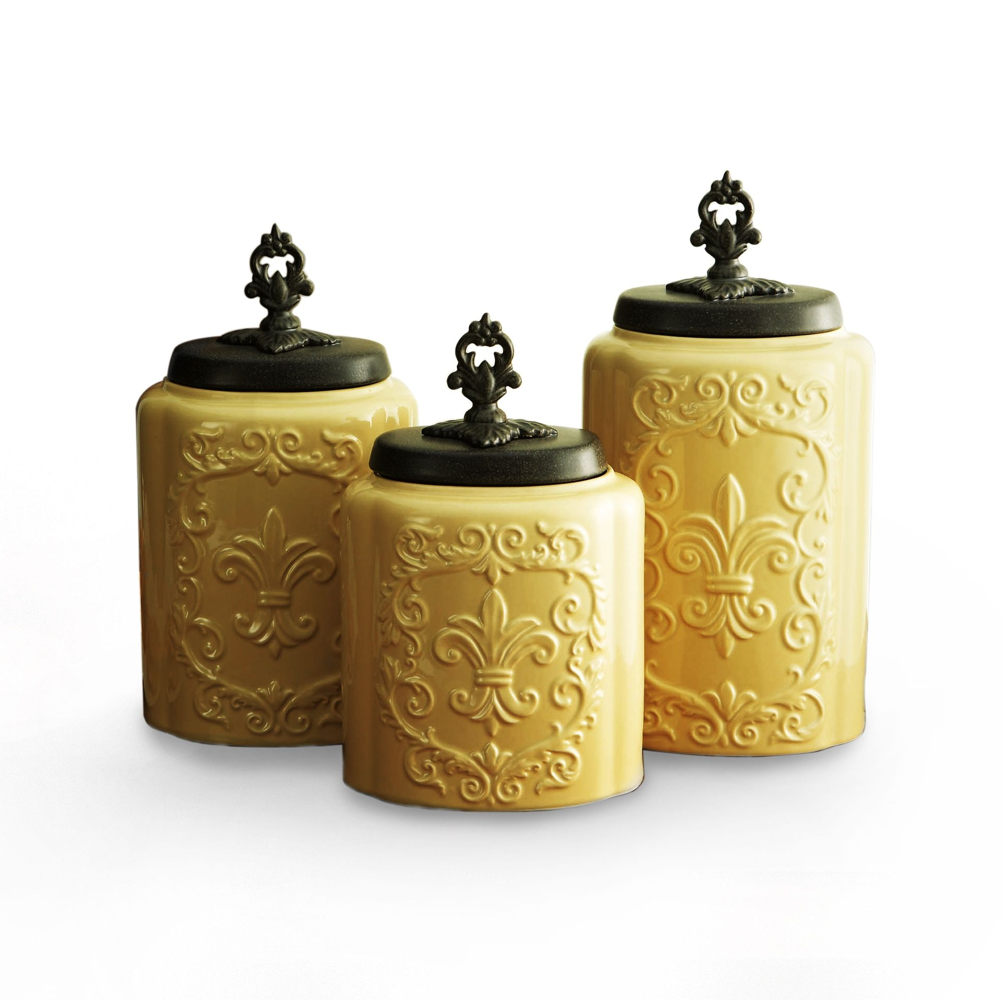 American Atelier Antique Cream Canisters (Set Of 3) (White Antique)