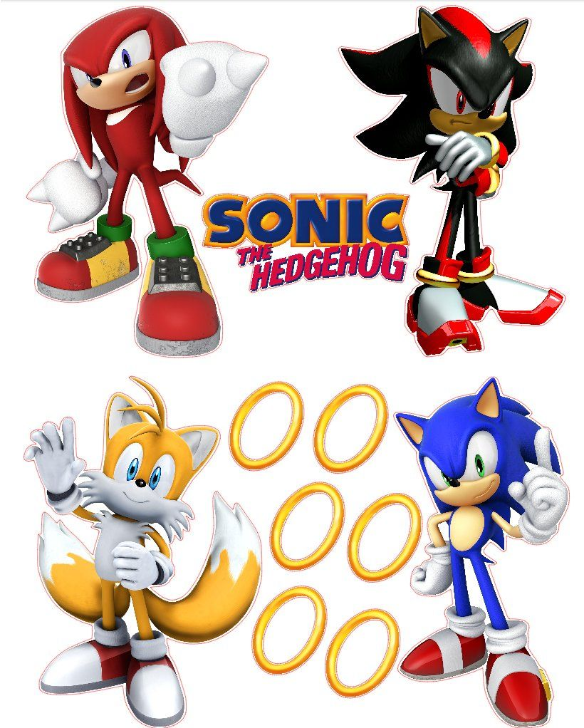 sonic the hedgehog tails knuckles and shadow removable on sonic wall id=25266