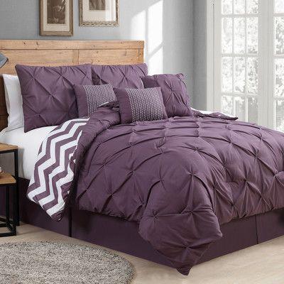 Best Plum Pinch Tucked Comforter Set Purple Bedroom Ideas 640 x 480