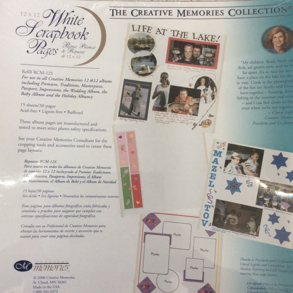 """creative memories 7.5"""" album pages x 12 new but not sealed"""