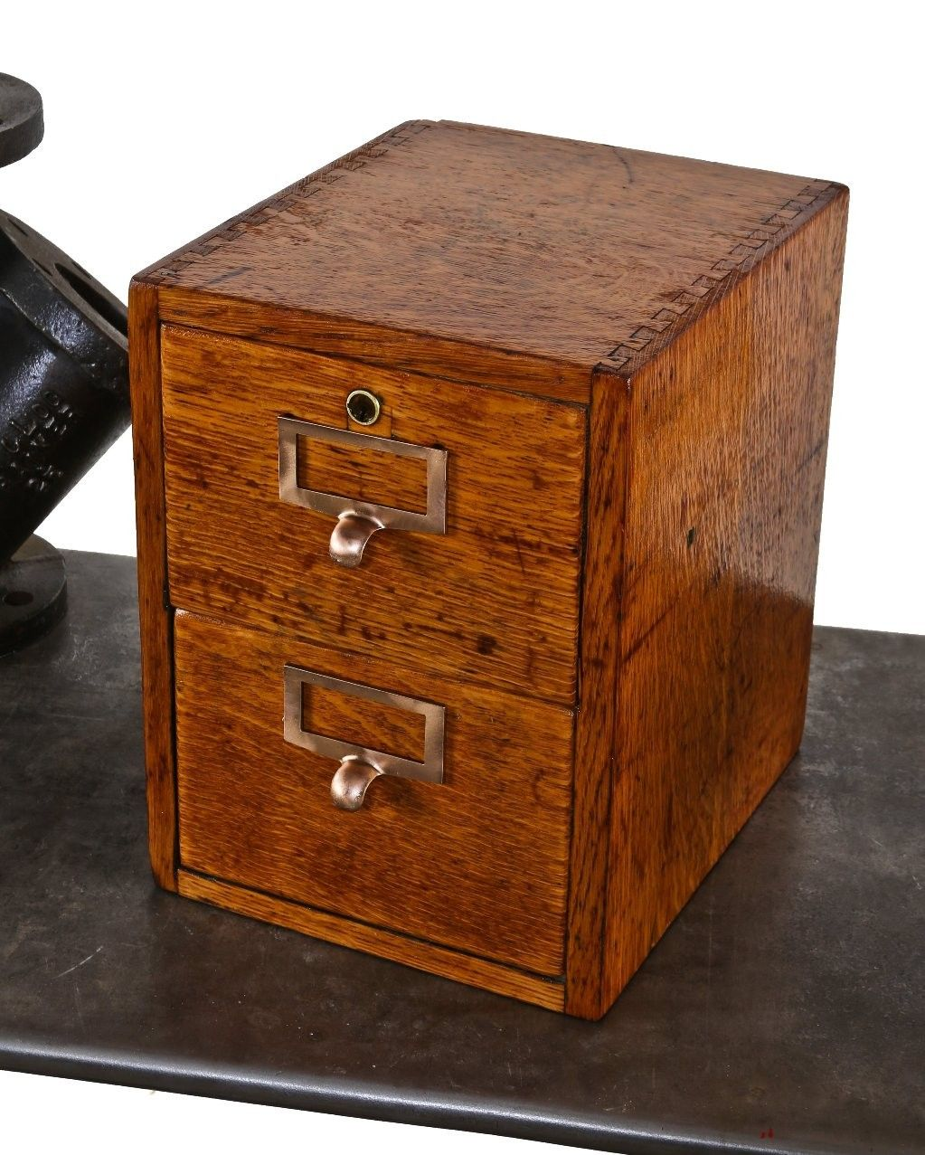 high quality early 20th century american industrial varnished oak wood two-drawer filing cabinet with dovetail joinery