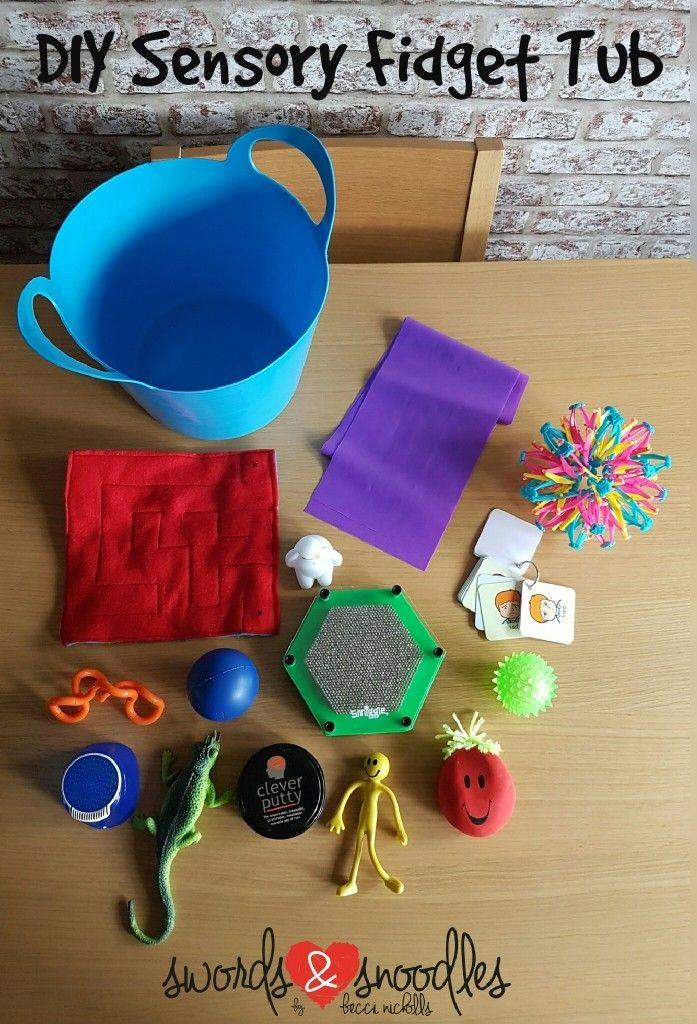 DIY fidget bucket Sensory toys Sensory toys, Crafts for