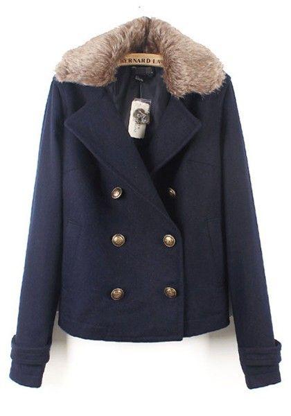 Navy Double Breasted Long Sleeve Coat