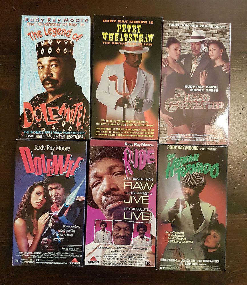 Rare Dolemite Rudy Ray Moore 6 Vhs Tape Box Set Action Blaxploitation Xenon Old School Movies Rudy Ray Moore Vhs