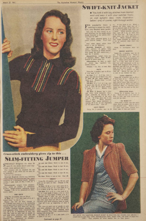 The Vintage Pattern Files Free 1940s Knitting Pattern Womens