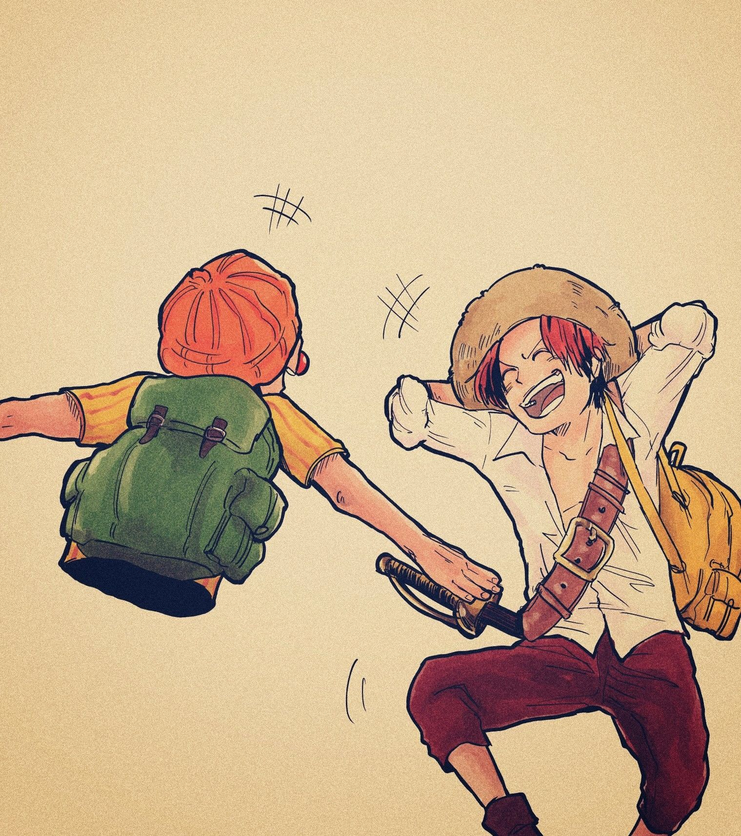 Buggy And Shanks Art By 5512koko One Piece Anime One Piece Drawing One Piece Ace