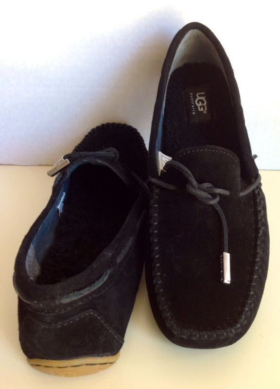 db1ccb12820 New UGG Classic Womens Tie Bow Moccasin Suede Driving Shoes, Black ...