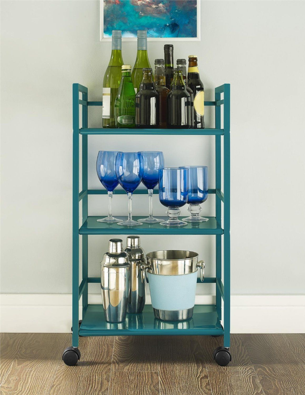 Amazon.com: Altra Marshall 3 Shelf Metal Rolling Utility Cart, Teal ...