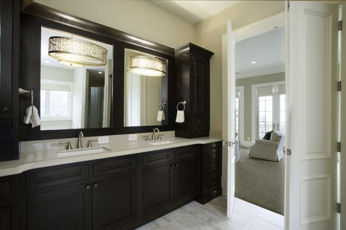 Lane Myers Construction Custom Home Builder Loeffler Residence Draper Utah Versailles Inspired Bathroom Black Cabinetry