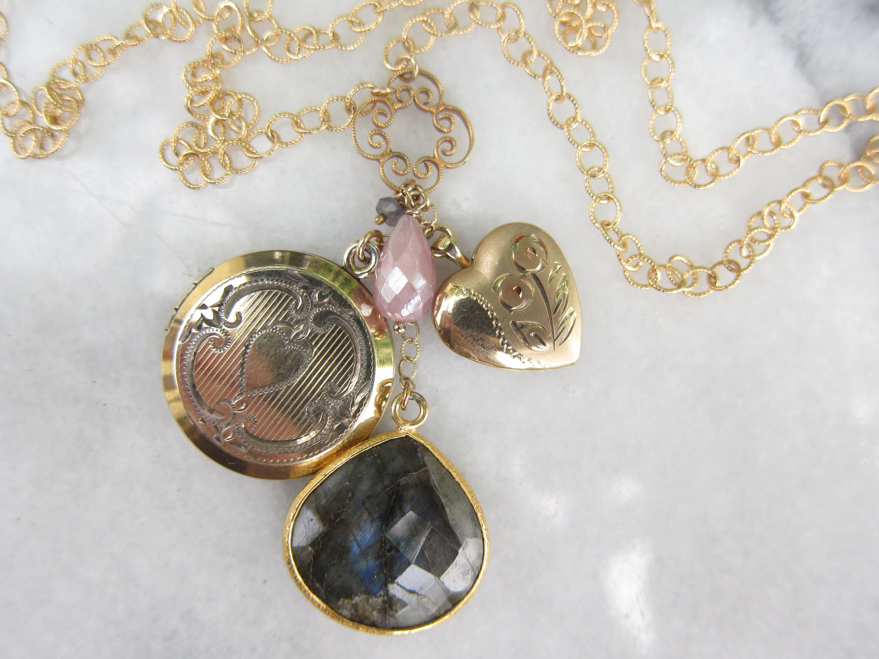 lockets locket two girls vintage wightman pin picture hough gems