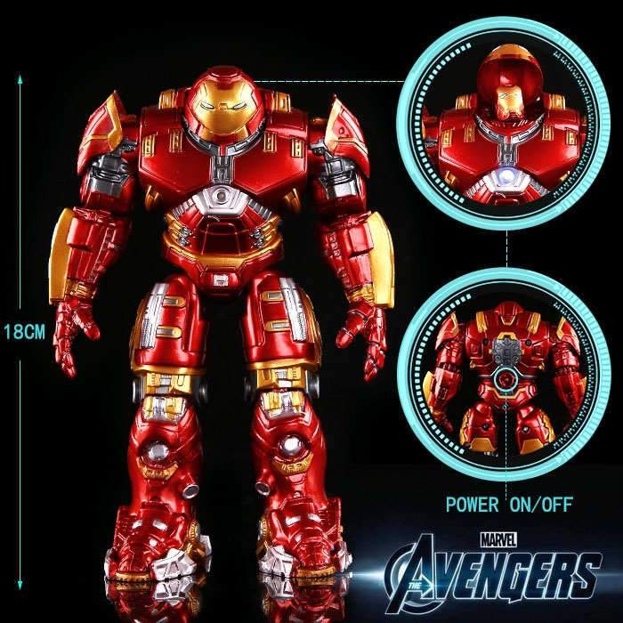 Avengers Iron Man Hulk Buster Armor Movable With LED Light Action Figure 8-11 in