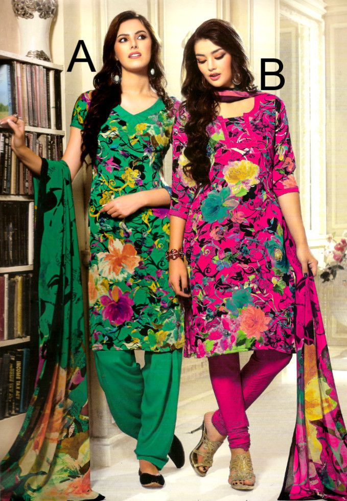Indian Pakistani Printed Crepe Suit Dress Casual Stitched Salwar Kameez Shalwar