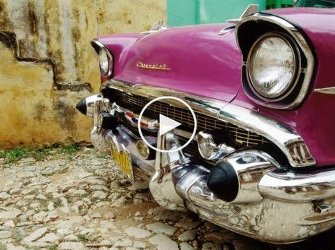 1957 Chevy Bel-Air Car Front Grill and Bumper in Cobbled Street, Trinidad, Cuba Photographic Print