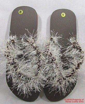 6a045034ae7bae Shoes Flip Flops Brown White Slippers Fun Fur Yarn 10 inch Size M 8.5 New  Yarn