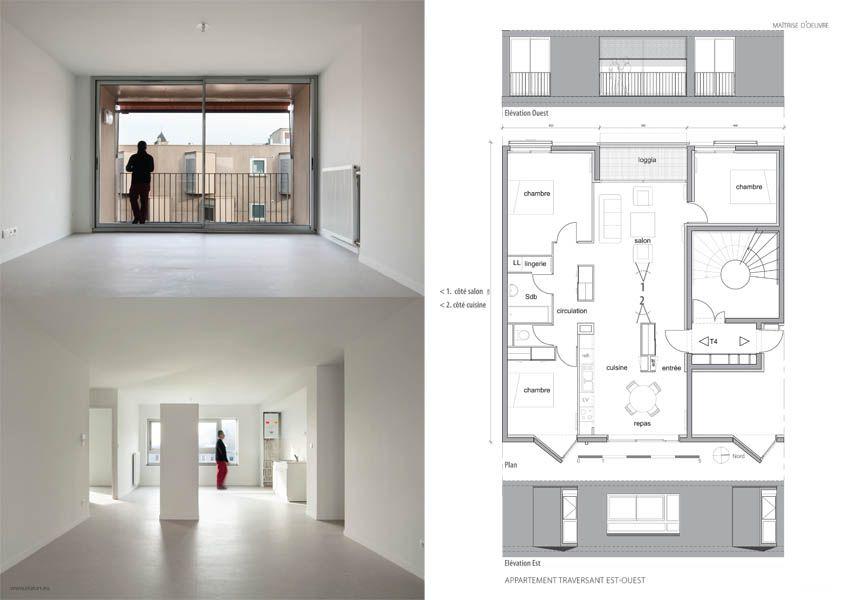 appartement traversant avec un volume cuisine s jour loggia concept lgt plan schema. Black Bedroom Furniture Sets. Home Design Ideas