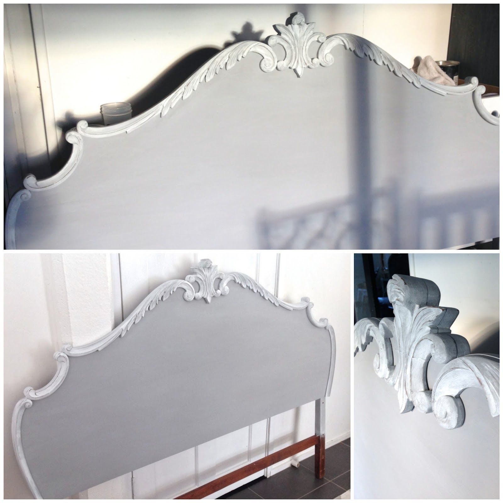 Pale grey and white hand painted timber bed head.   Vintage Workroom ...
