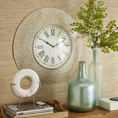 Mosaic Wall Clock Ivory Mosaic Wall Decor Gold Home Decor