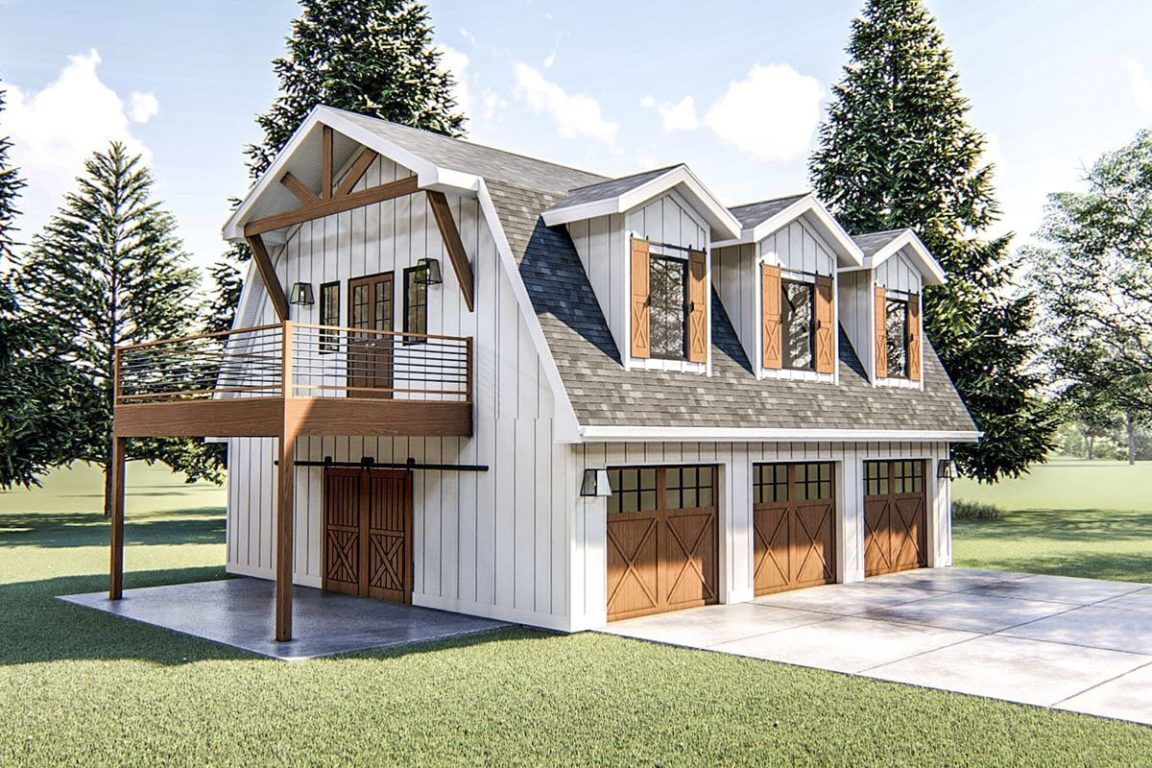 Two Story 1 Bedroom Modern Barn Like Garage Apartment Floor Plan Carriage House Plans Barn Style House Garage Apartment Floor Plans