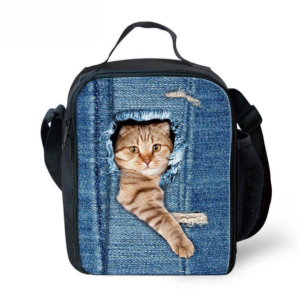 Cat toys thikin cute cat print insulated lunch box tote