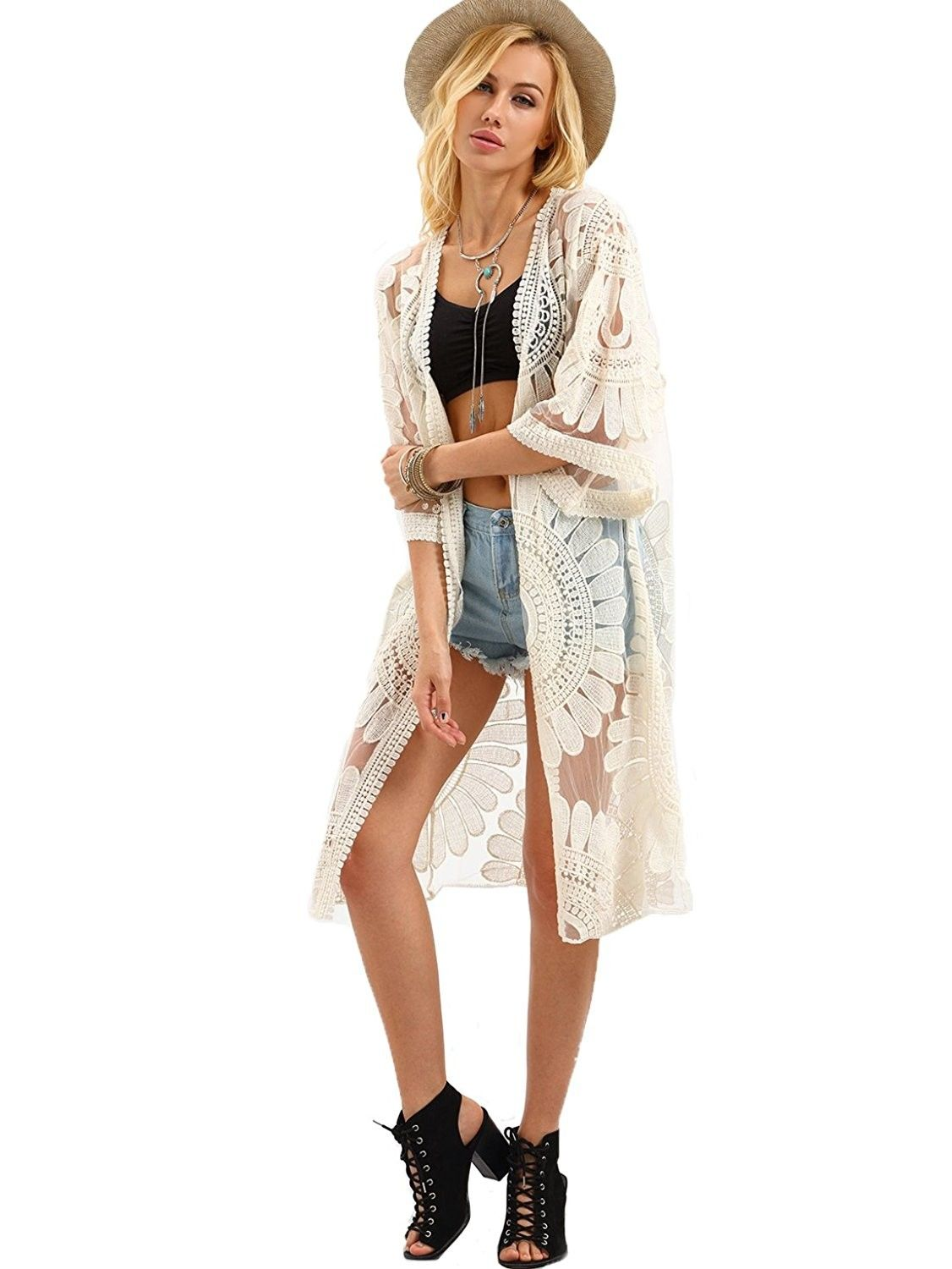 efe00168b6f Womens Open-Front Flower Embroidered Beach Mesh Kimono Cover Up Cardigan -  Beige - CM180M5UD8W,Women's Clothing, Sweaters, Cardigans #women #clothing  ...