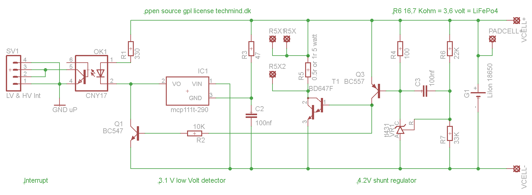 open source bms cell pcb for Liion and LiFePo battery cells