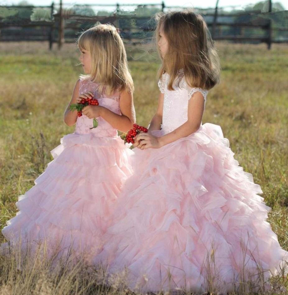 Princess ball gown flower girl dresses elegant tulle pink appliques