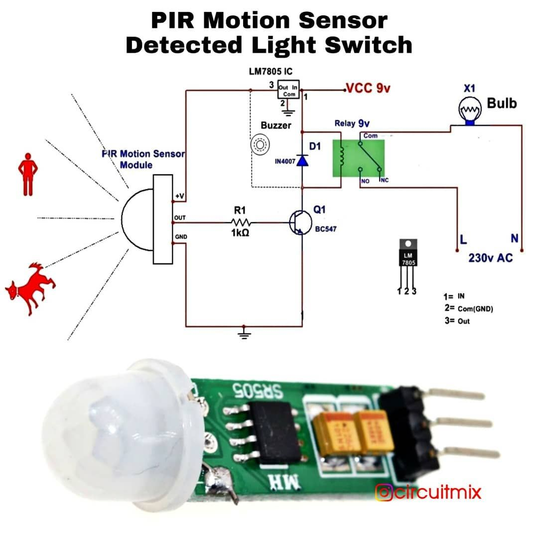 Pir Motion Sensor Detected Light Switch When A Person Animal Or Any Object Comes In The Range Of Pir Sensor It Switch Light Switch Motion Sensor Sensor