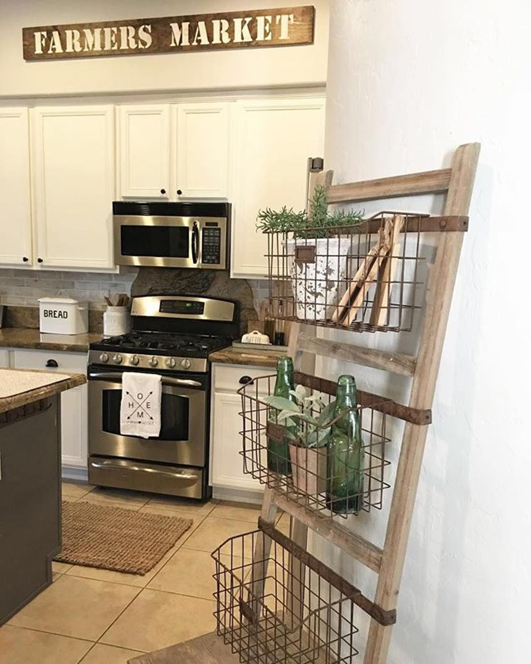 I Spy Our Wooden Ladder Shelf W Wire Baskets Styled To Pure Perfection In Jaci S Gorgeous Kitchen Homedecor Wooden Ladder Shelf Kitchen Ladder Kitchen Decor