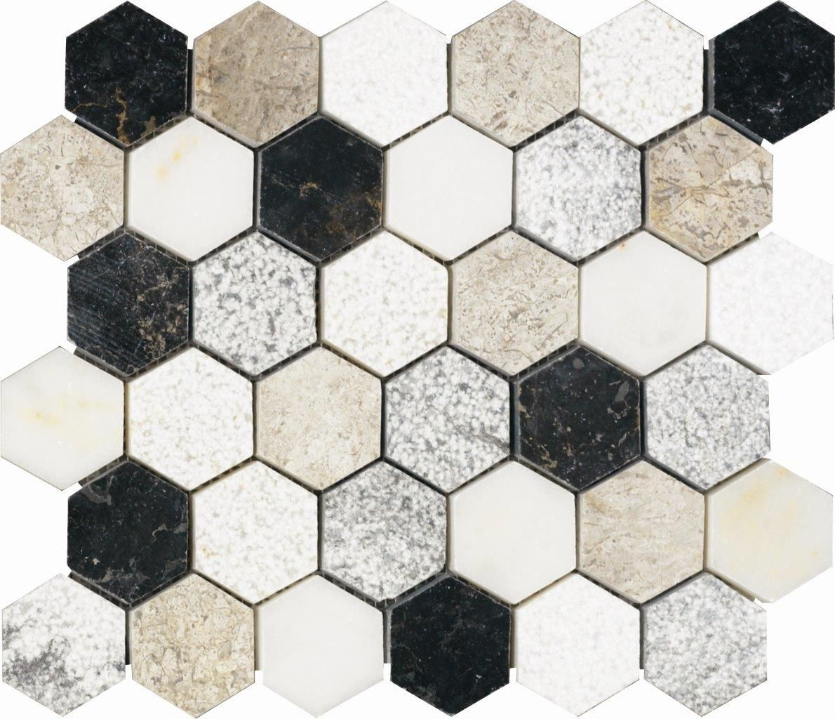 SOUL 30.9x30.9 cm: Elegante mosaico hexagonal que combina varios ...