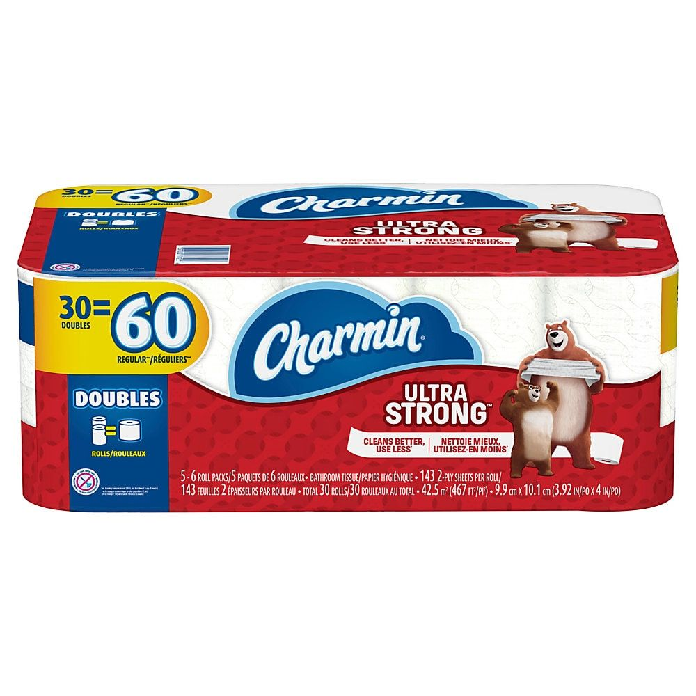 Charmin Ultra Strong 2 Ply Double Roll Bathroom Tissue 4 X 467 White 143 Sheets Per Roll Pack Of 30 Rol Bathroom Tissue Best Toilet Paper Rolling Packing