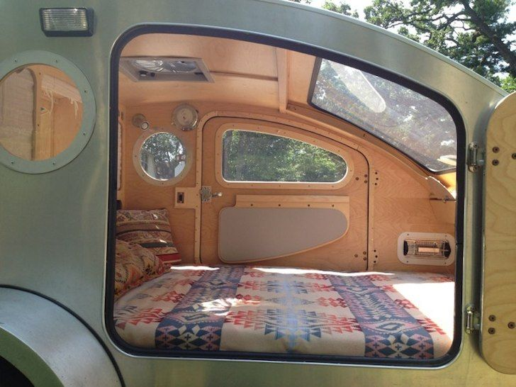 It's easy to get in and out of the camper because the bed is level with the bottom of the door