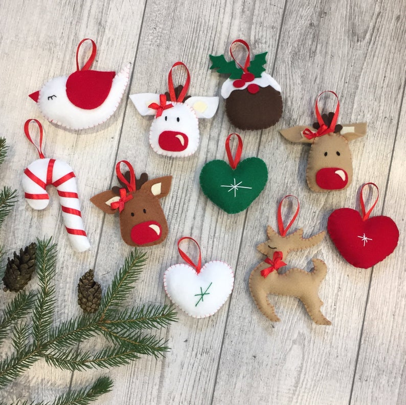 Felt Christmas Ornaments Handmade Christmas Tree Decorations Etsy Felt Christmas Ornaments Christmas Ornaments Felt Christmas