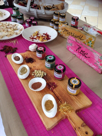 Masala Monsoon - Inspired Aromatic Spice Blends on display using our large wooden board.