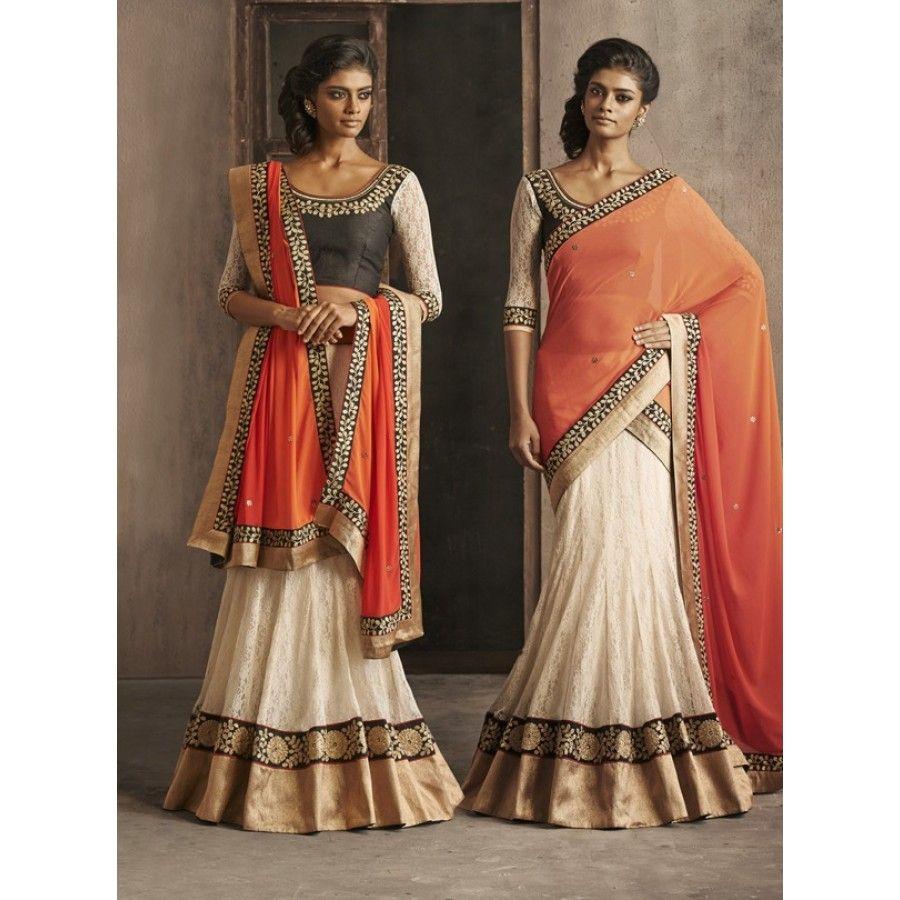 Designer Nakkashi Orange and White Net Saree - Buy Nakkashi Orange and White Net Saree Online at Best Prices in India | Vendorvilla.com at just Rs.2499/- on www.vendorvilla.com. Cash on Delivery, Easy Returns, Lowest Price.