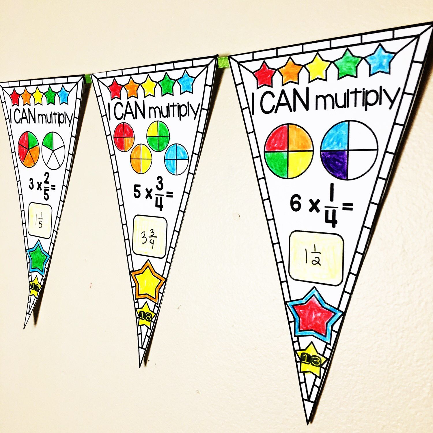 Multiplying Fractions By Whole Numbers Pennant Activity