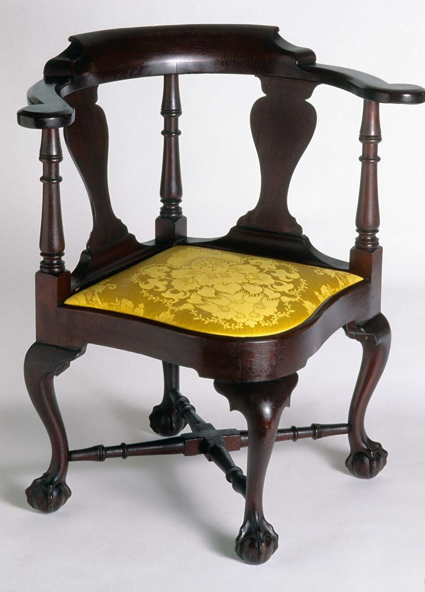 Antique furniture - Corner Chair, 1745-1775. Unknown Maker; Massachusetts. (1959.3385
