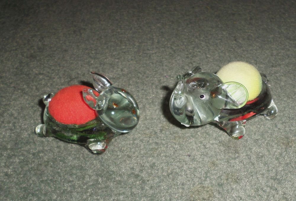 Vintage Lot of Two Hand Blown Glass Sewing Pin Cushion Rabbit & Elephant, GUC!