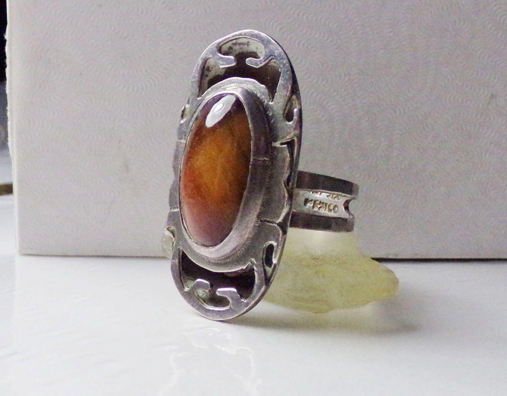 Israel Vtg 925 Sterling Silver Real Tiger Eye Gemstone Floral Piece