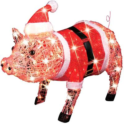 december home pink pig with santa dress outdoor decoration meijercom