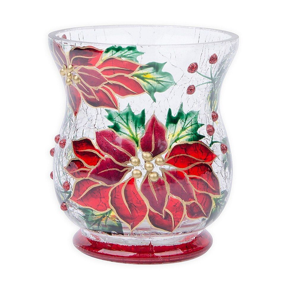 Home Essentials Beyond 3 5 Glass Poinsettia Votive Holder Multi Glass Votive Holders Votive Holder Tealight Candle Holders